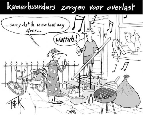 cartoon Freek Janssen over huuroverlast