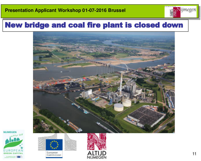 sheet met tekst New bridge and coal fire plant is closed down